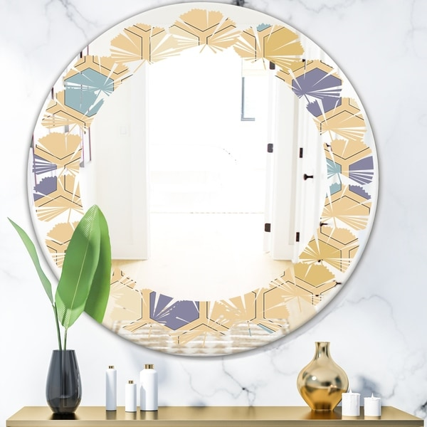 Designart 'Retro Hexagon PatternX' Modern Round or Oval Wall Mirror - Leaves
