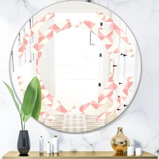 Designart 'Abstract geometric pattern, patchwork quilting' Modern Round or Oval Wall Mirror - Space