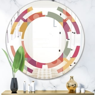 Designart 'Geometric Retro Minimal I' Modern Round or Oval Wall Mirror - Space