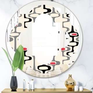 Designart 'Retro Abstract Design IX' Modern Round or Oval Wall Mirror - Quatrefoil