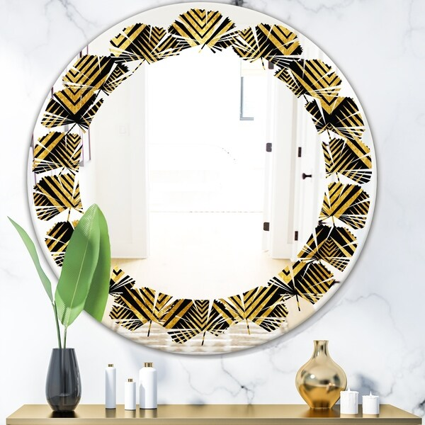 Designart 'Art Deco Seal pattern' Modern Round or Oval Wall Mirror - Leaves