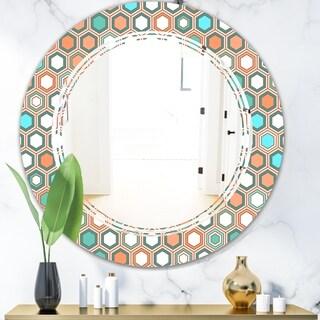Designart 'Retro Hexagon Pattern III' Modern Round or Oval Wall Mirror - Triple C - Multi