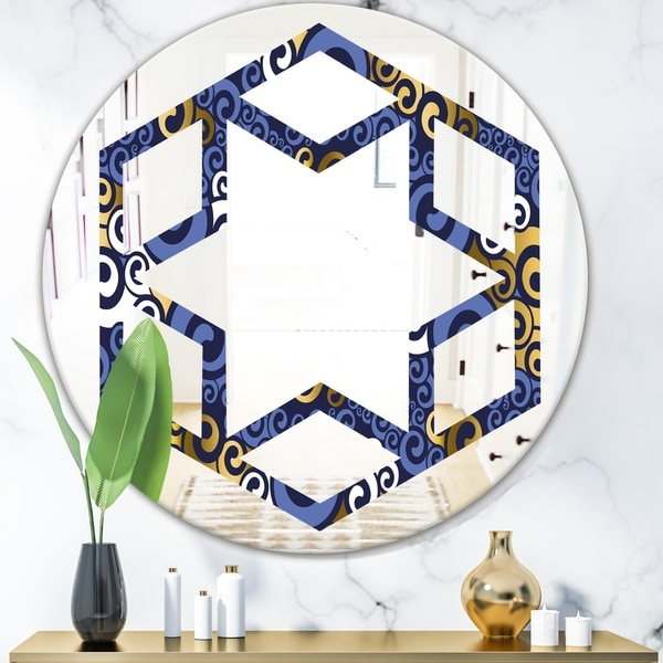 Designart 'Retro Luxury Waves In Gold and Blue III' Modern Round or Oval Wall Mirror - Hexagon Star