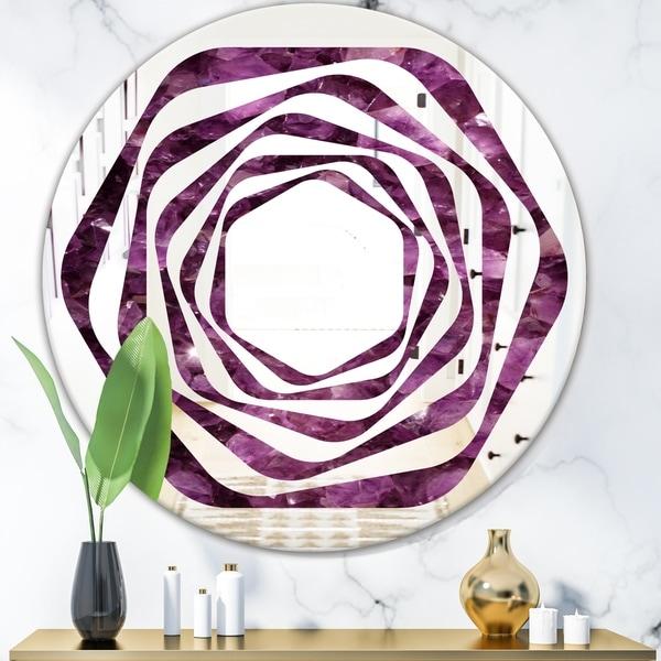 Designart 'Purple Gems' Modern Round or Oval Wall Mirror - Whirl