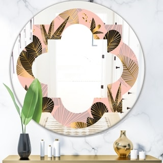 Designart 'Golden Foliage III' Modern Round or Oval Wall Mirror - Quatrefoil