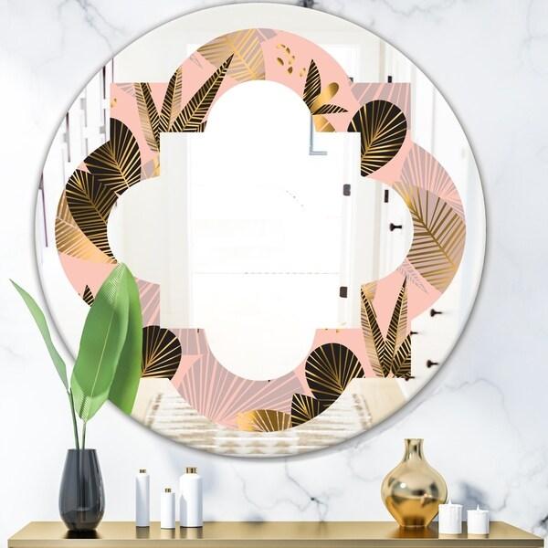 Designart 'Golden Foliage III' Modern Round or Oval Wall Mirror - Quatrefoil