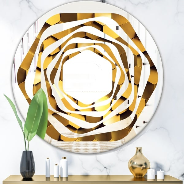 Designart 'Golden Honeycomb Wall Texture' Modern Round or Oval Wall Mirror - Whirl