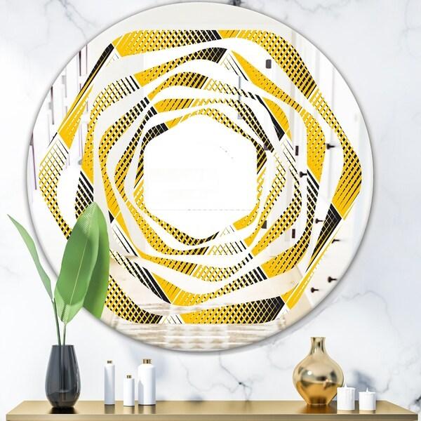Designart 'Rhombus Retro Geometric' Modern Round or Oval Wall Mirror - Whirl