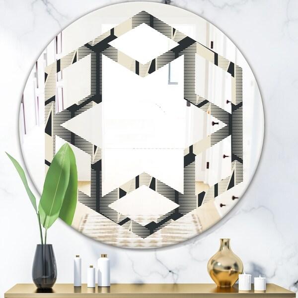 Designart 'Abstract Retro Triangular Geometrics' Modern Round or Oval Wall Mirror - Hexagon Star