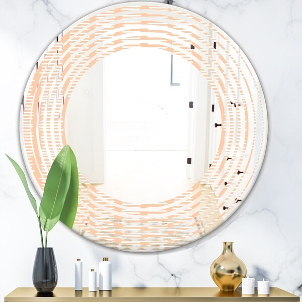 Designart 'Retro Abstract Lines Pattern' Modern Round or Oval Wall Mirror - Wave