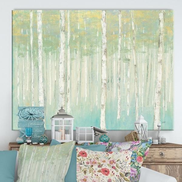 Designart 'RW Birches at Sunrise' Cottage Canvas Wall Art