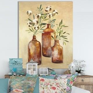 Designart 'RW Cotton Still Life III' Cottage Canvas Wall Art