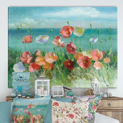 Designart 'RW Coastal Poppies' Cottage Canvas Wall Art