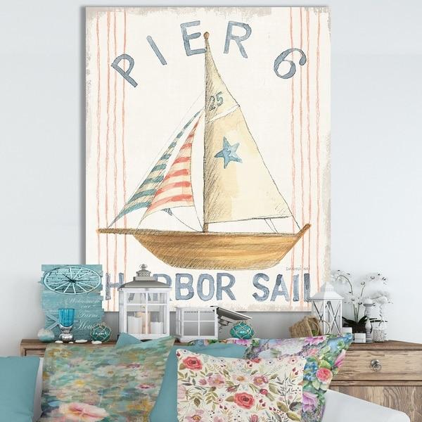 Designart 'RW Floursack Nautical VII' Cottage Canvas Wall Art