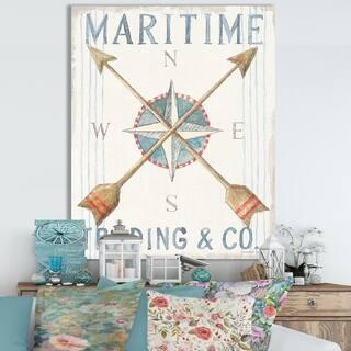 Designart 'RW Floursack Nautical VI' Cottage Canvas Wall Art