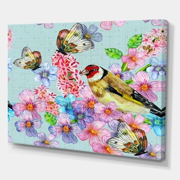Designart 'Cute birds watercolor' Cottage Canvas Wall Art