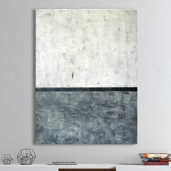 Designart 'Grey and White Abstract Art Painting' Modern Canvas Wall Art
