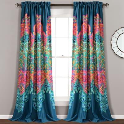 Lush Decor Boho Chic Room Darkening Window Curtain Panel Pair