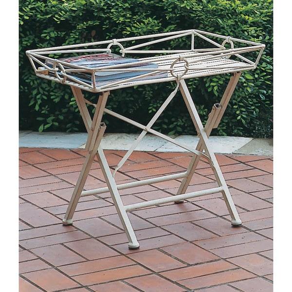 International Caravan Iron Folding Rectangular Side Table