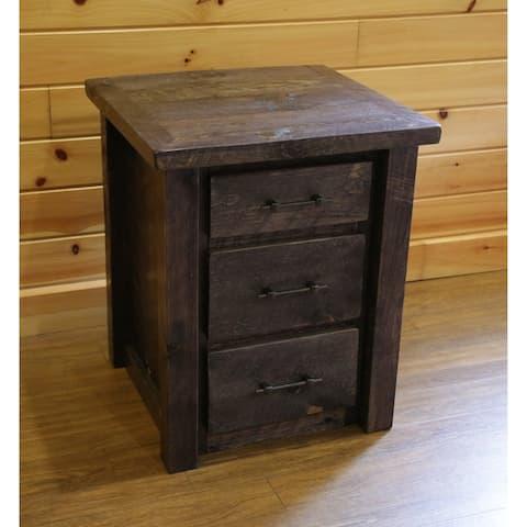 Barnwood Style Timber Peg - 3 Drawer Nightstand/End Table