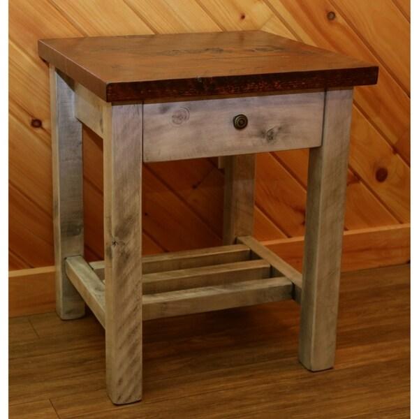 Barnwood Style Timber Peg - 1 Drawer Nightstand/End Table - White Thunder