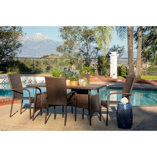 Link to Rhonn 5-piece Brown and Grey Wicker Outdoor Dining Set by Havenside Home Similar Items in Patio Furniture