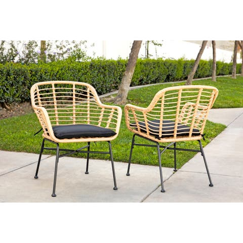 Sichee Brown Wicker Outdoor Accent Chairs (Set of 2) by Havenside Home
