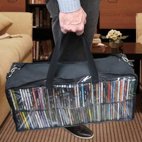 Evelots CD Storage Bag-See Thru-All Around Zipper-Shoulder Handle-Holds 100 CD's - Set of 1