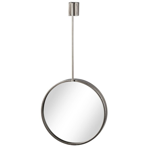 Round Metal Wall Mirror with Top Brace Hanger, Coated Silver Finish