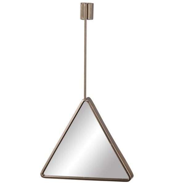 Triangle Metal Wall Mirror with Top Brace Hanger, Coated Gold Finish