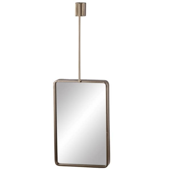 Rectangle Metal Wall Mirror with Top Brace Hanger, Coated Gold Finish