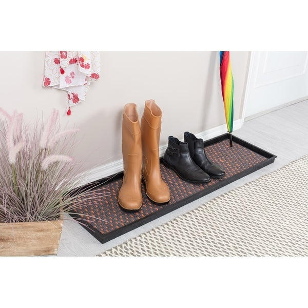 Natural and Recycled Rubber Boot Tray with Gray and Orange Coir Insert. Opens flyout.