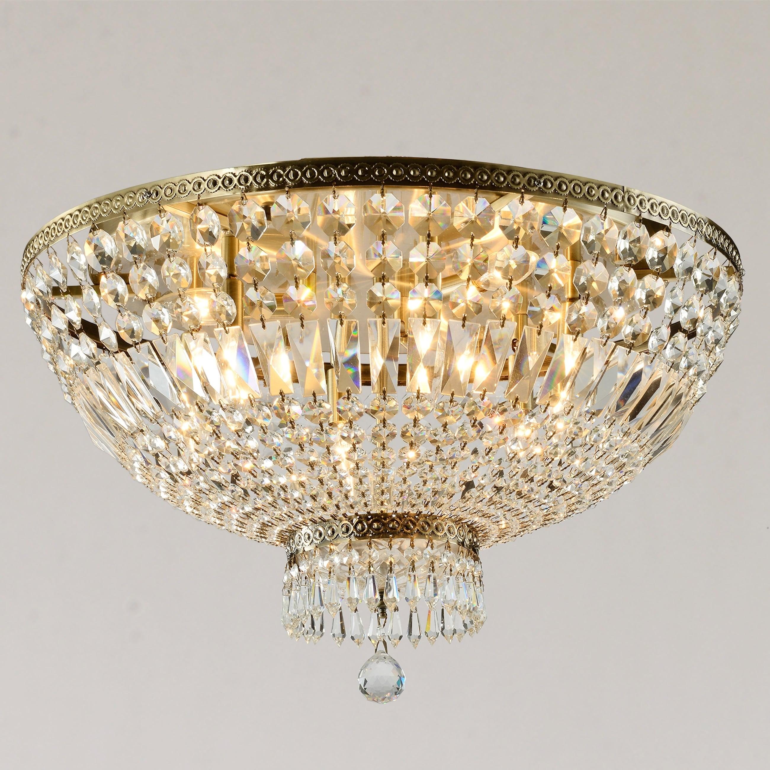 Shop Black Friday Deals On Royal French Basket 9 Light 24 In Antique Bronze Finish Crystal Flush Mount Ceiling Light Large Flush Mount Overstock 29928099