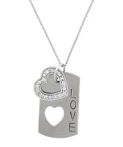 Icz Stonez Silver Cubic Zirconia Heart Dog Tag Necklace