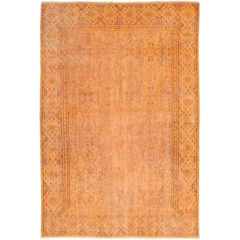 Hand-knotted Color Transition Burnt Orange Wool Rug
