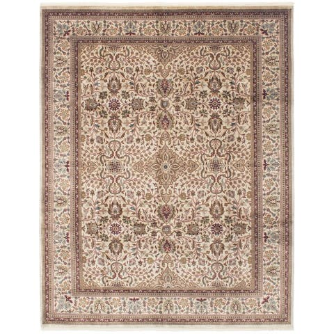Hand-knotted Jamshidpour Ivory Wool Rug ECARPETGALLERY - 7'10 x 10'0