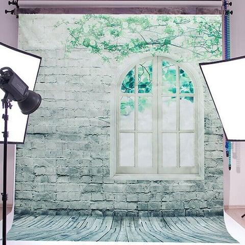 Photography Backdrop Studio Photo Prop 5' x 7' Window Brick Wall