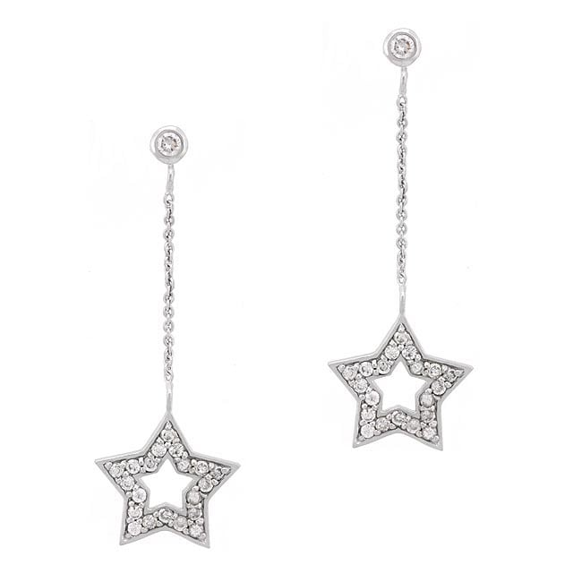 Icz Stonez Sterling Silver Cz Star Dangle Earrings