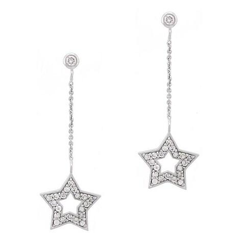 Icz Stonez Sterling Silver CZ Star Dangle Earrings