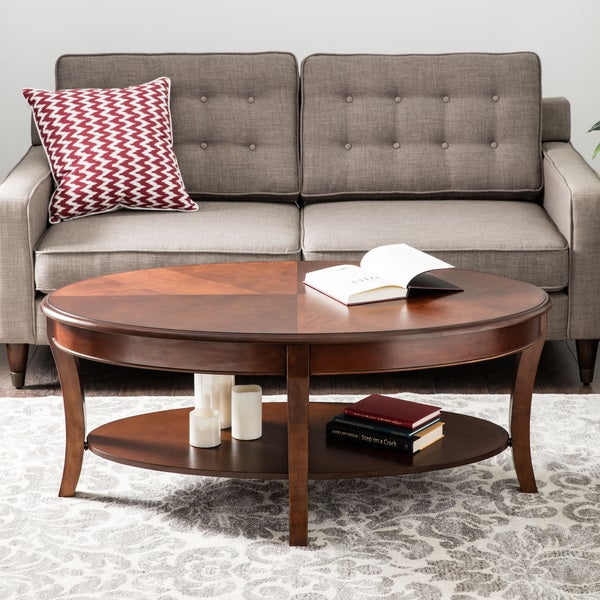 Oval Walnut Coffee Table Free Shipping Today Overstock Com 11143149