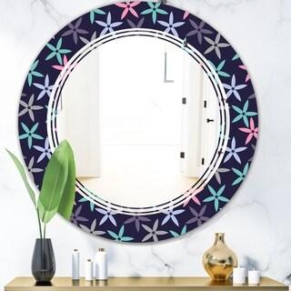 Designart 'Retro Abstract Flower Design V' Modern Round or Oval Wall Mirror - Triple C