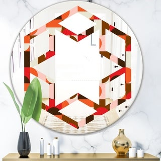 Designart 'Retro Geometric Design II' Modern Round or Oval Wall Mirror - Hexagon Star