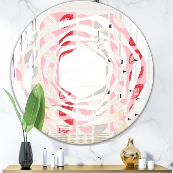 Designart 'Botanical Retro Design I' Modern Round or Oval Wall Mirror - Whirl