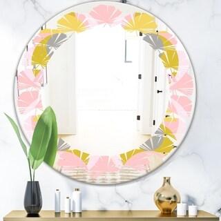 Designart 'Retro Pastel Circular Pattern IV' Modern Round or Oval Wall Mirror - Leaves