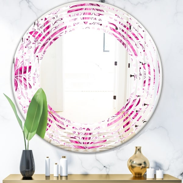 Designart 'Retro Floral Pattern XII' Modern Round or Oval Wall Mirror - Wave