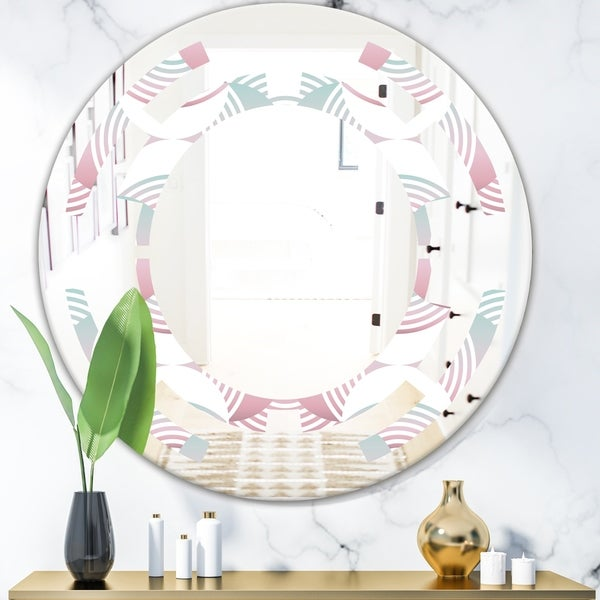 Designart 'Retro Geometrical Abstract Pattern I' Modern Round or Oval Wall Mirror - Space