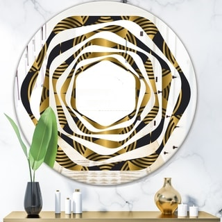 Designart 'Art Deco style modern pattern' Modern Round or Oval Wall Mirror - Whirl