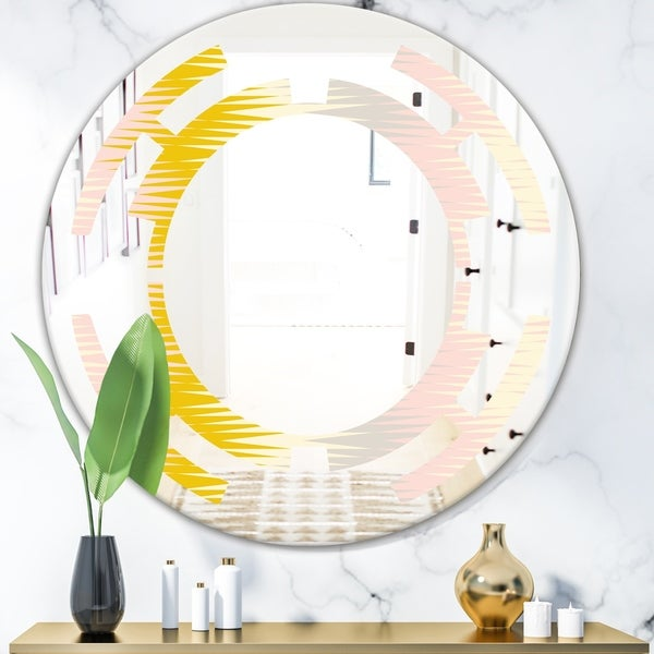 Designart 'Retro Abstract Design IV' Modern Round or Oval Wall Mirror - Space