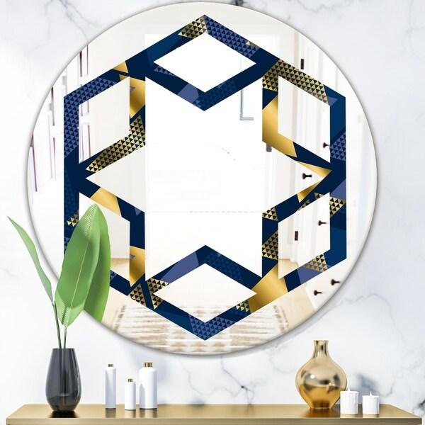 Designart 'Retro Luxury Waves In Gold and Blue IX' Modern Round or Oval Wall Mirror - Hexagon Star