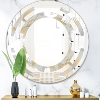 Designart 'Luxury geometric fall leaves pattern' Modern Round or Oval Wall Mirror - Space